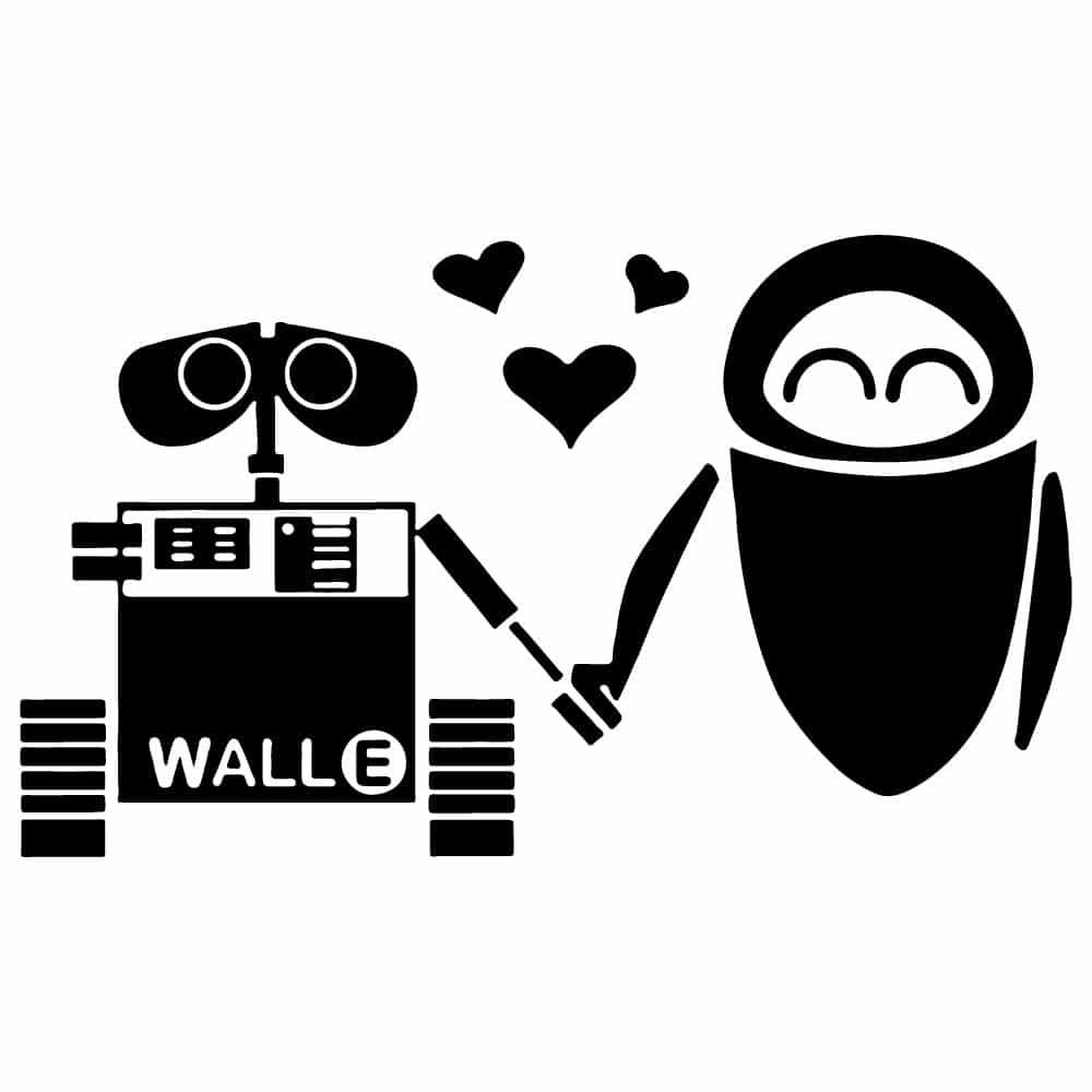 WALL-E /& EVE LOVE Custom Personalized Wheelie Bin Number House Stickers Vinyl